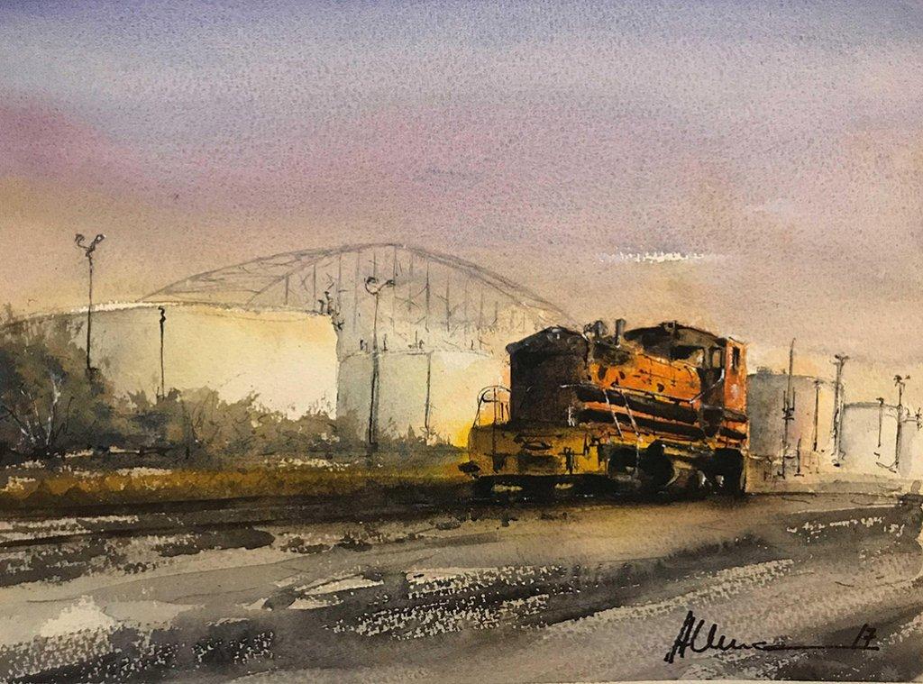 Train Watercolor By Al Kline - Doodlewash