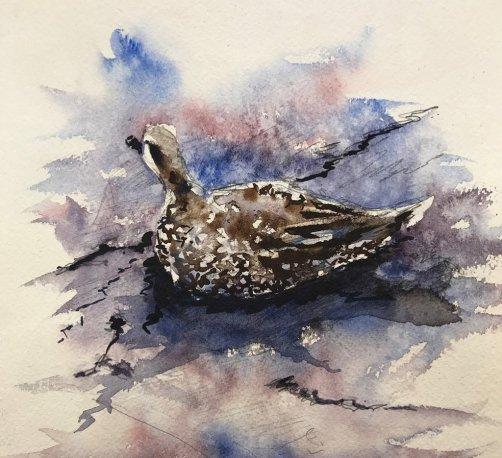 Marbled Teal Watercolor By Al Kline - Doodlewash