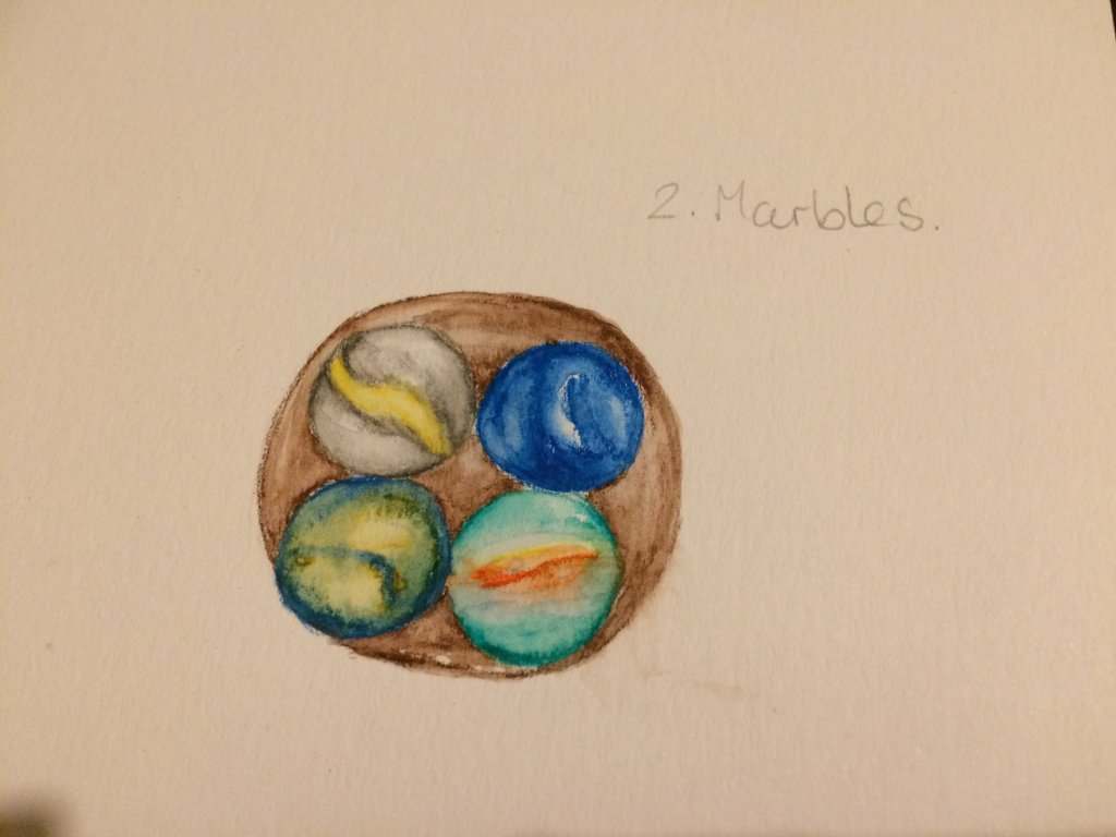 Found my Marbles 😂 and enjoyed painting the crayons. I'm taking too long on each challenge