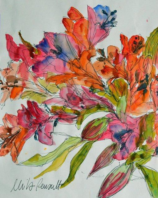 Flowers Watercolor Painting by Mila Renault - Doodlewash
