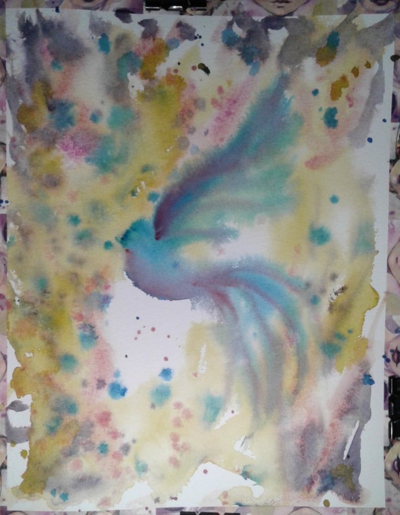 Bluebird of happiness… This painting was so much fun, it didn't take all that long, but