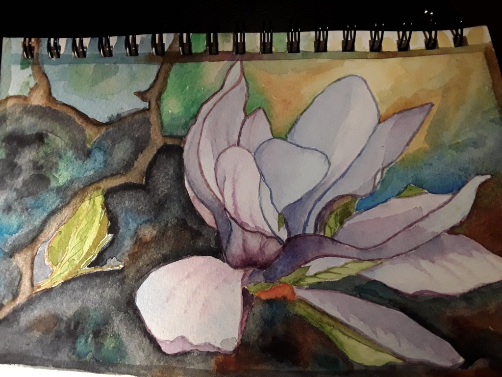 Day 10- magnolia. This was my attempt at a u tube tutorial. #doodlewashFebruary2019 #WorldWatercolou