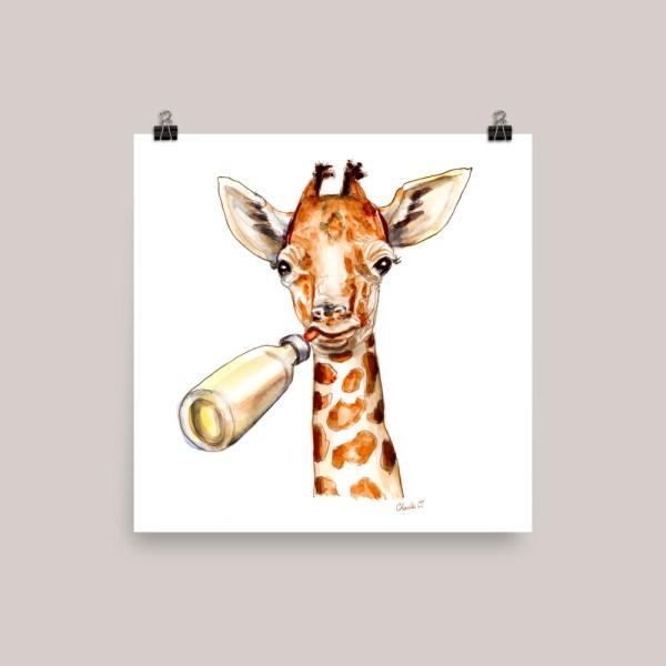 Baby Giraffe Watercolor Print Buy