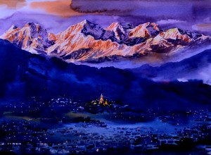 Kathmandu Valley Watercolor on paper 15×11 inch 2015 SOLD _DSC0082_2