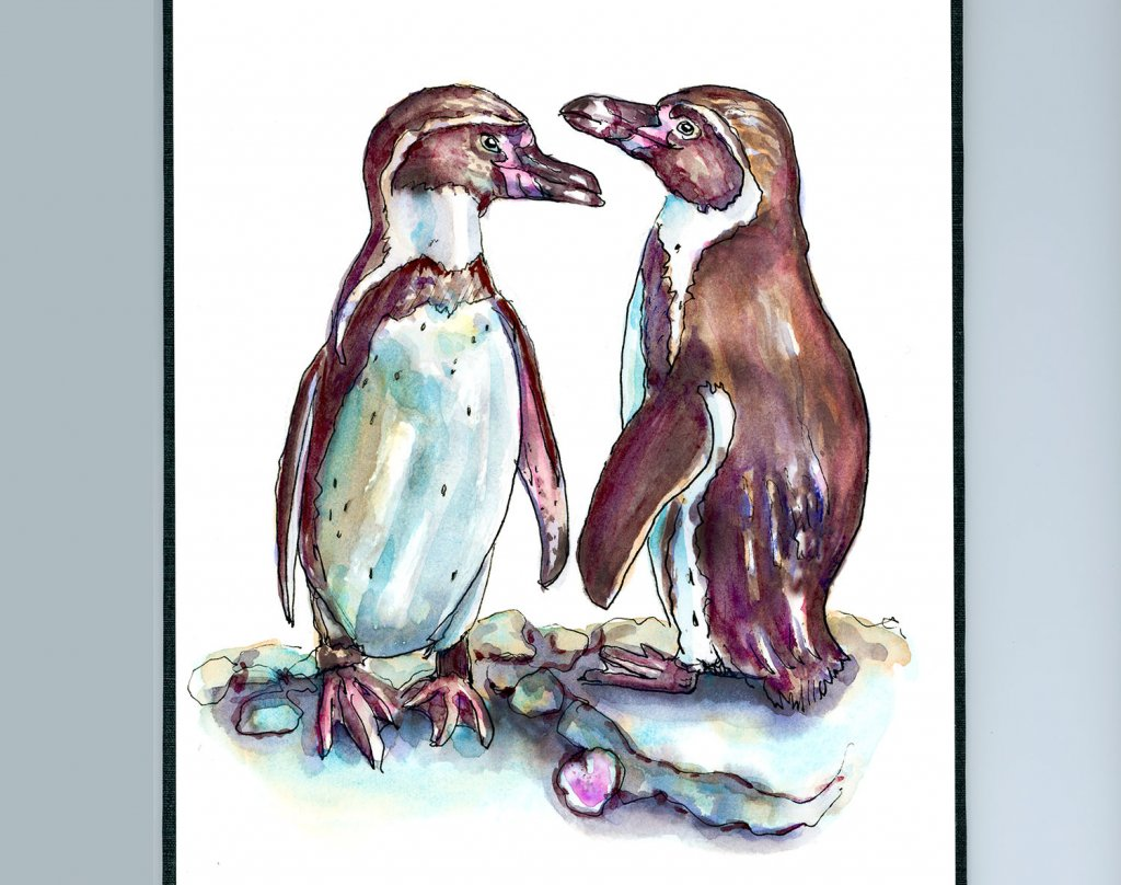 Penguins In Love Watercolor - Doodlewash