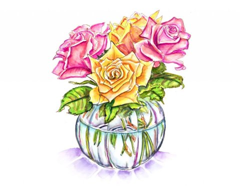 Day 15 - Roses In Vase Watercolor - Doodlewash