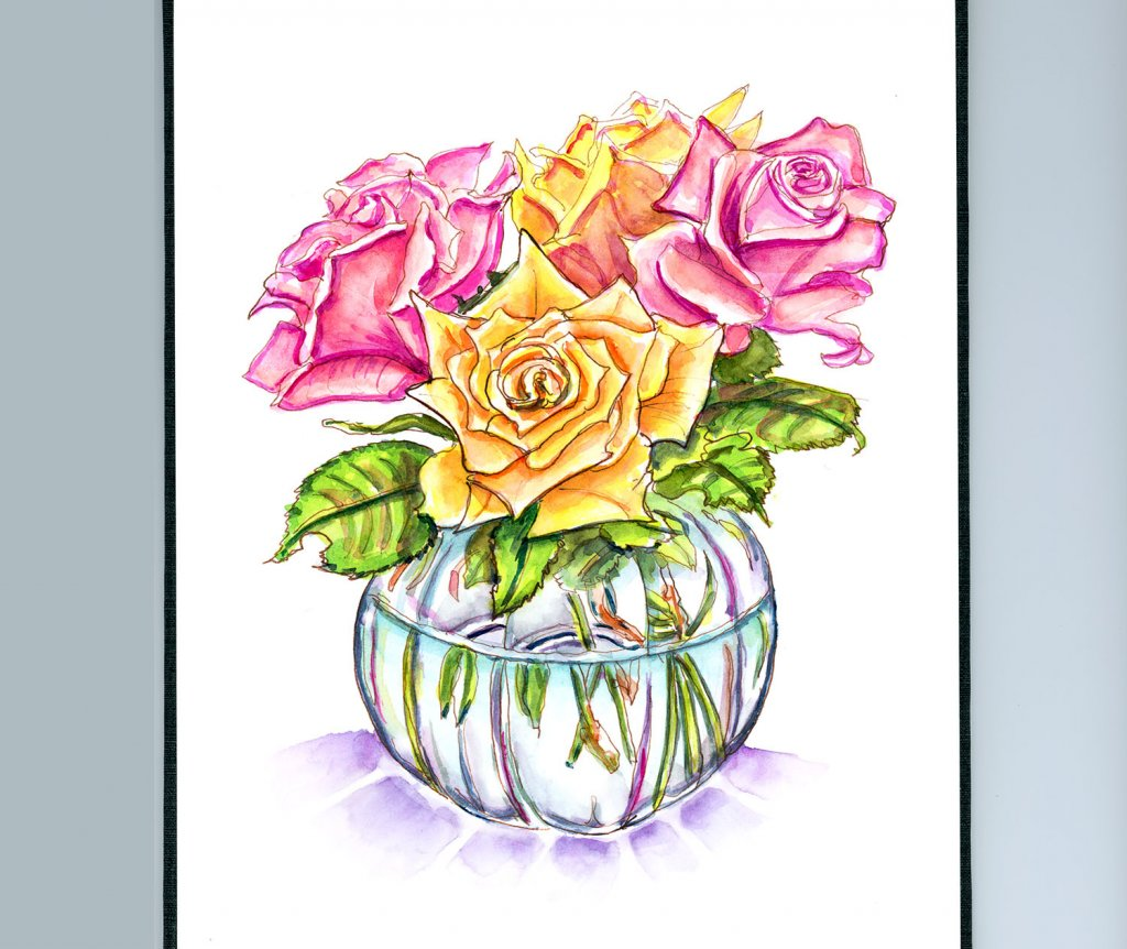 Roses In Vase Watercolor - Doodlewash Sketchbook