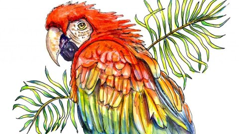 Day 2 - Scarlet Parrot Palm Leaves Watercolor - Doodlewash