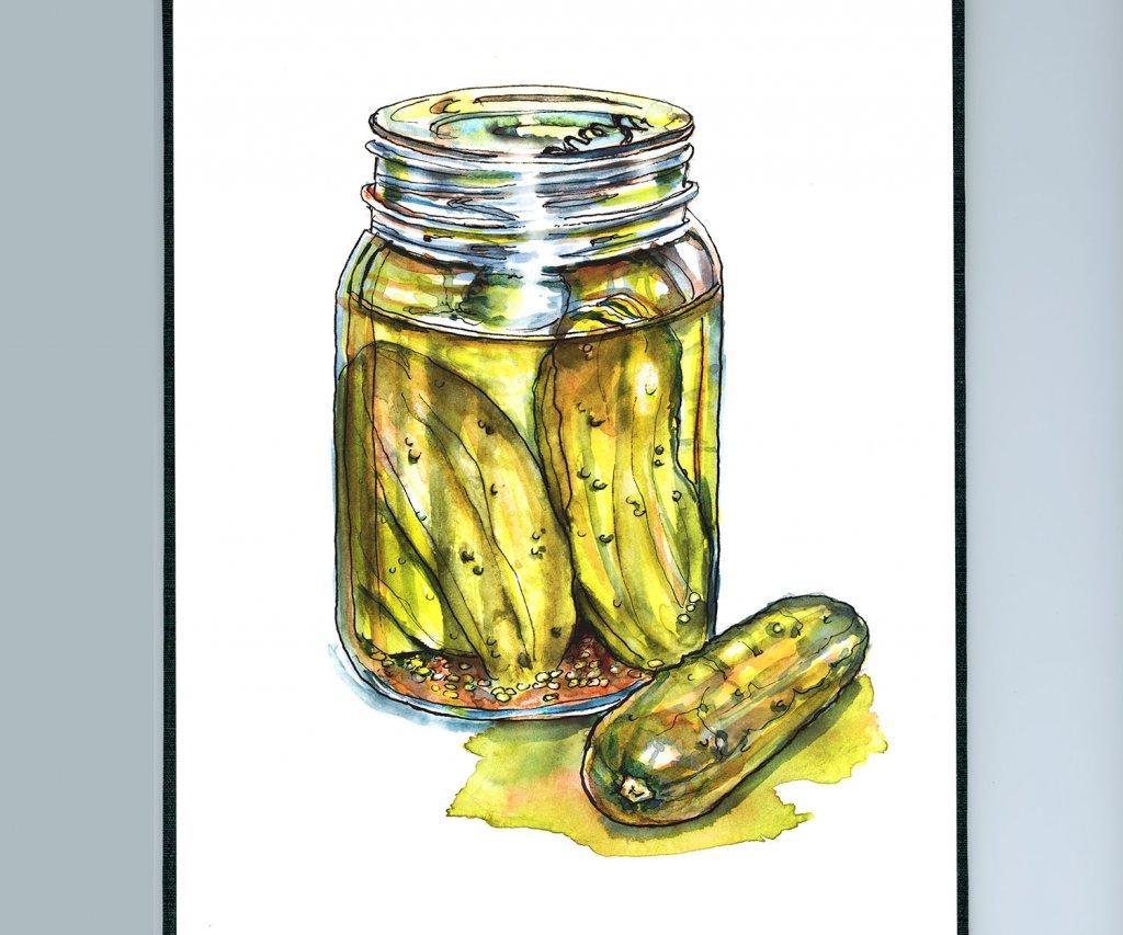 Pickle Jar Of Pickles Watercolor - Doodlewash