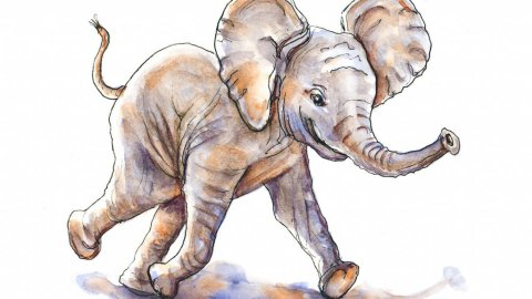 Day 7 - Baby Elephant Watercolor Art Of Joy - Doodlewash