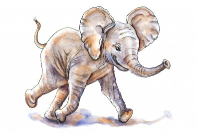 Day 7 - Baby Elephant Watercolor Art Of Joy - Doodlewash
