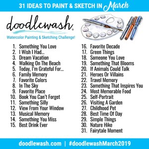 Doodlewash March 2019 Drawing and Painting Prompts
