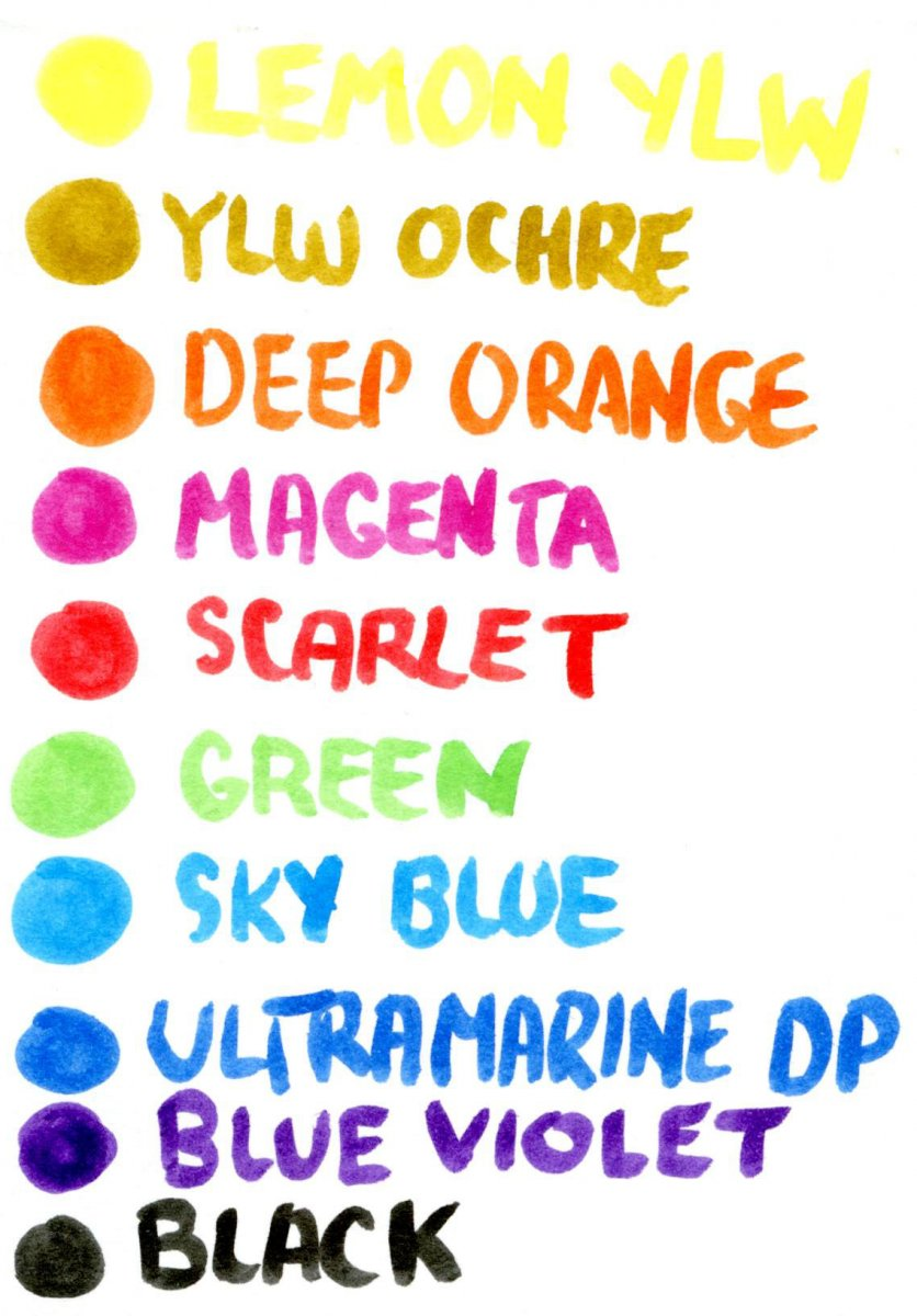 Ecoline Watercolor Brush Pen Color Chart