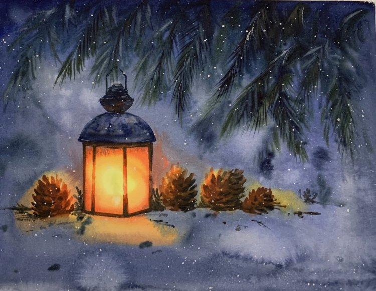 A lantern. Quick watercolor, 30×40 cm, approx. 50 minutes. IMG_0939