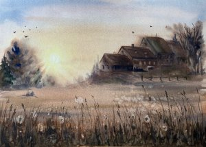 Village sunset. Quick wet-on-wet watercolor, limited palette, 30x40cm. IMG_1124