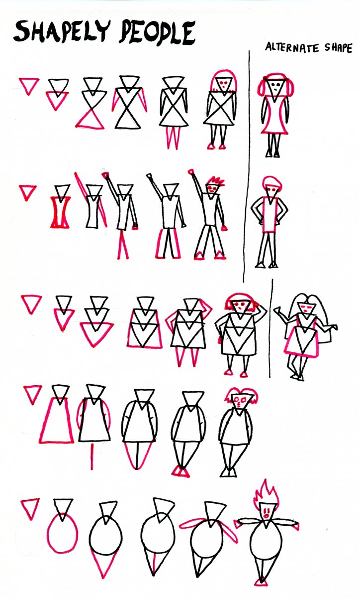Drawing People Using Simple Shapes by Sandra Strait - Doodlewash