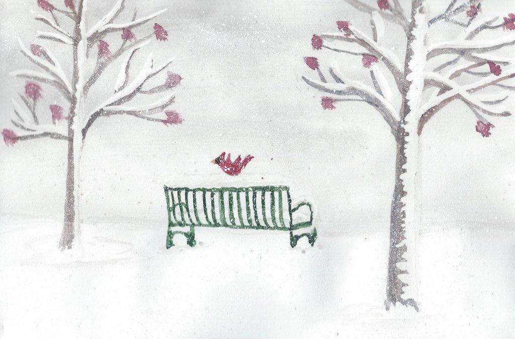 More snow! I wish cardinals lived in my neigborhood. #doodlewashFebruary2019 Day 8: Bird #worldwater