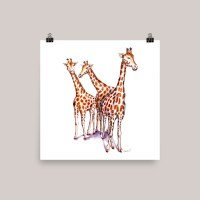 Three Giraffes Watercolor Print Kids Room
