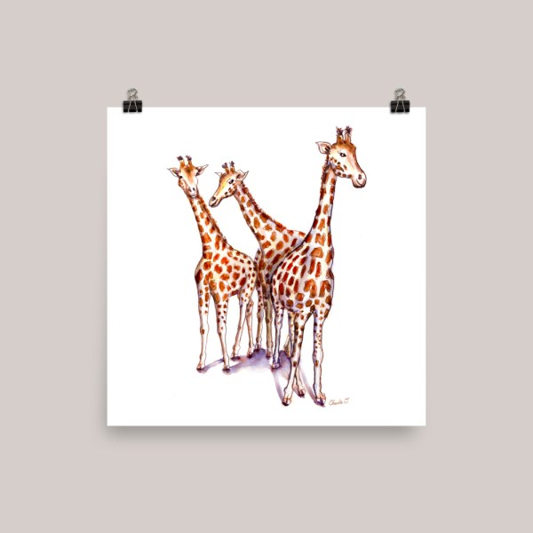 Three Giraffes Watercolor Print Kids Room