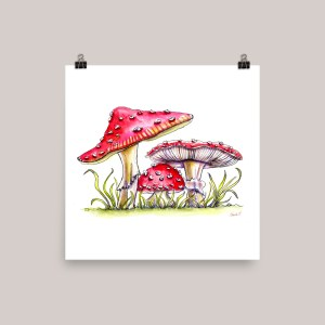 Storybook Mushrooms Watercolor Print Fly Agaric