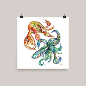 Siamese Fighting Fish Watercolor Print