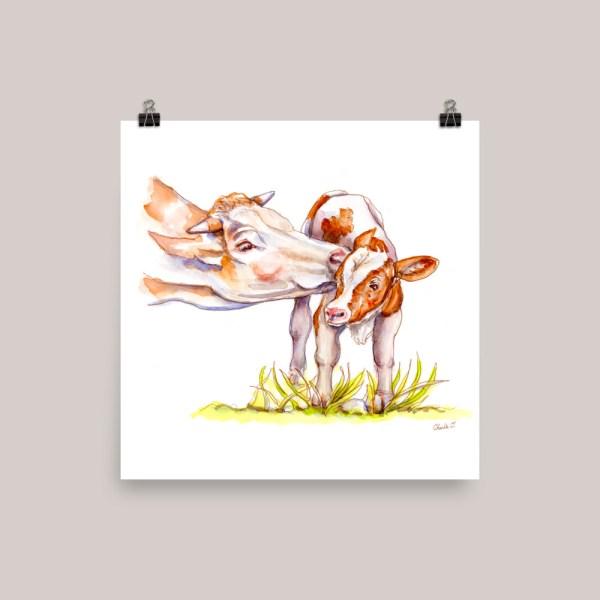 Cow and Calf Watercolor Print Main Image