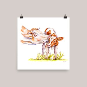 Cow and Calf Watercolor Print Main Image