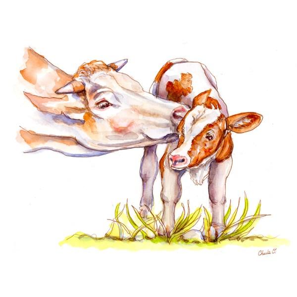 Cow and Calf Watercolor Print Detail