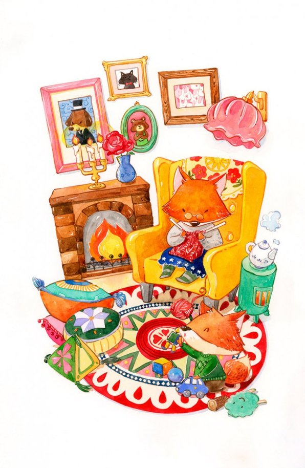 Cozy Home Illustration by Jiaqi He (PenelopeLovePrints) - Doodlewash