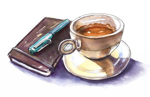 Day 10 - Sketchbook And Coffee Illustration - Doodlewash