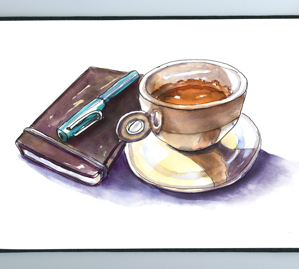 Sketchbook And Coffee Illustration - Doodlewash