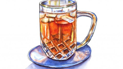 Day 15 - Iced Tea Glass Illustration Watercolor - Doodlewash