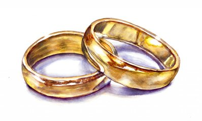 Day 18 - Wedding Rings Watercolor Gold - Doodlewash