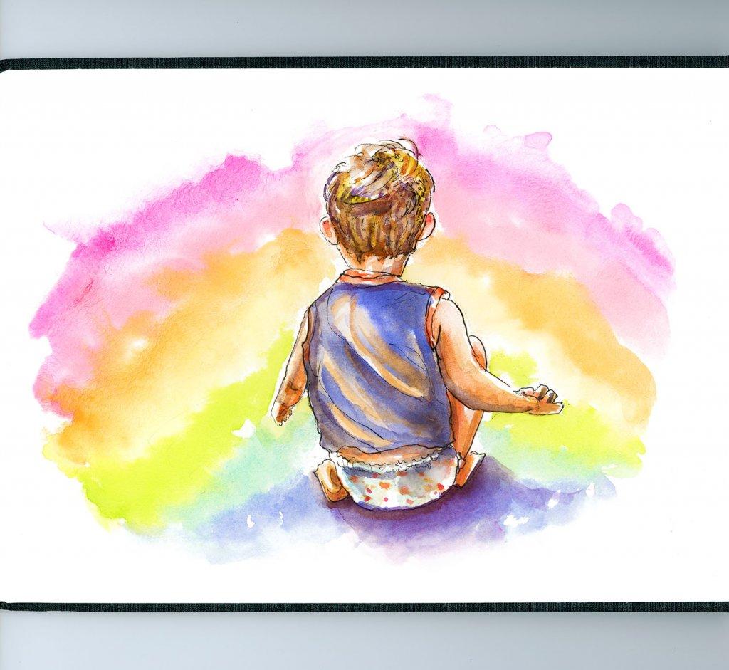 Little Boy Rainbow Illustration - Doodlewash