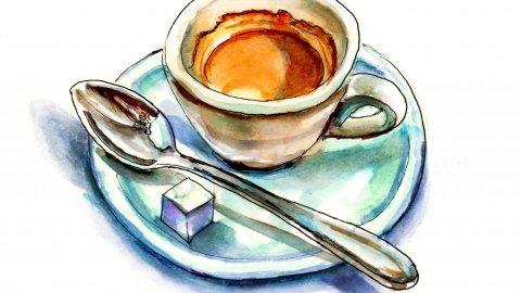 Day 28 - Espresso Illustration with Spoon - Doodlewash