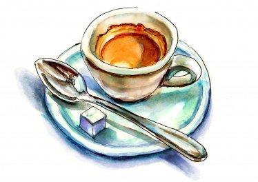 Day 28 - Espresso Illustration with Spoon - Doodlewash