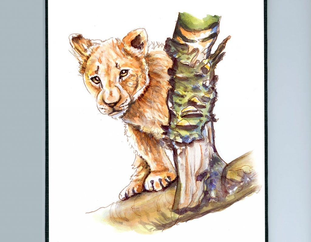 Lion Cub Watercolor African Safari - Doodlewash