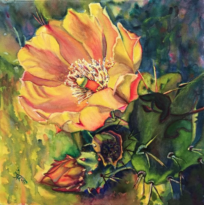 Cactus Flower Watercolor Painting by Prerana Kulkarni - Doodlewash