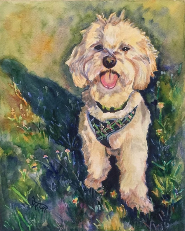 Dog Pet Portrait Watercolor Painting by Prerana Kulkarni - Doodlewash