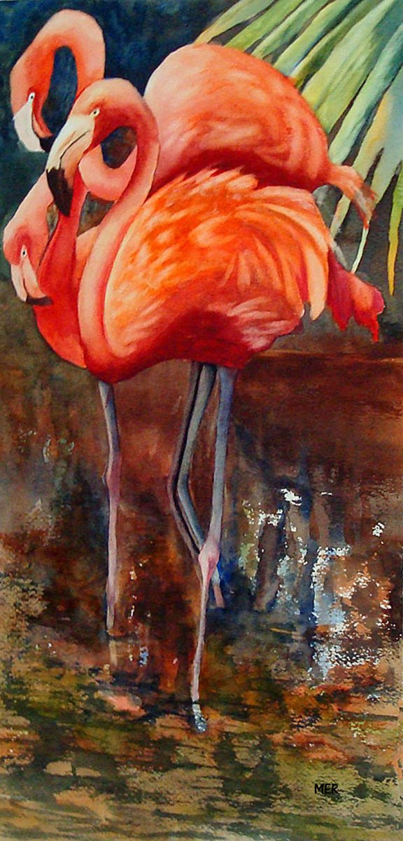 Flamingos Watercolor Painting By Mary Roff