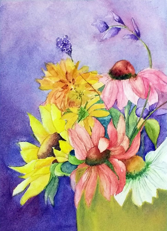 Bouquet of Flowers Watercolor Painting By Mary Roff