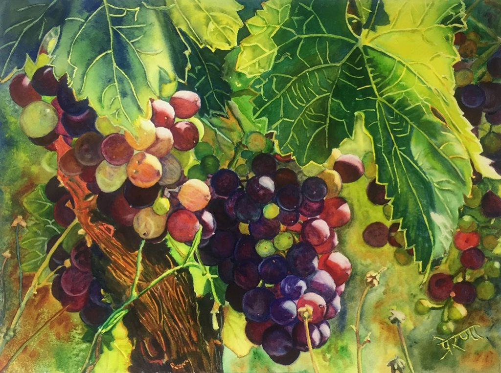 Grapes Watercolor Painting by Prerana Kulkarni - Doodlewash