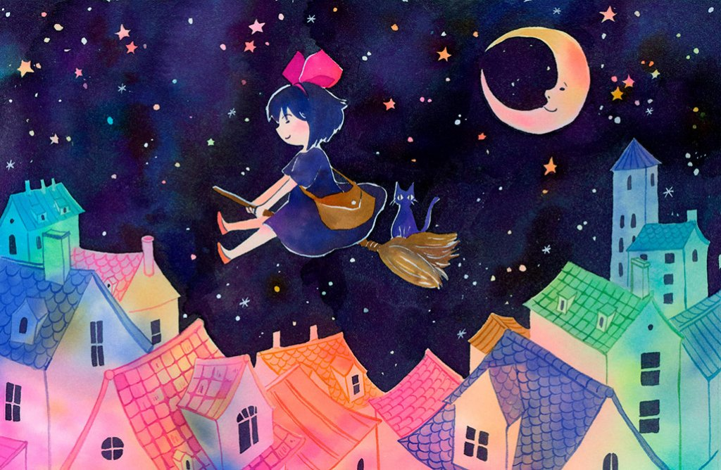 Kiki Sleepy Town Illustration by Jiaqi He (PenelopeLovePrints) - Doodlewash