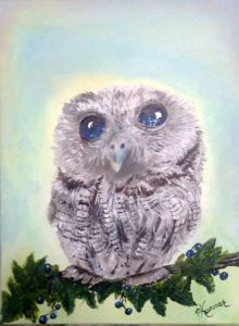 I love the eyes on my baby owl. acrylic done in 2018 MYSTY