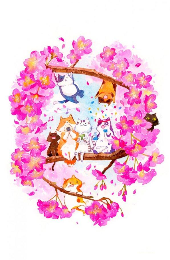 Spring Hanami Illustration by Jiaqi He (PenelopeLovePrints) - Doodlewash