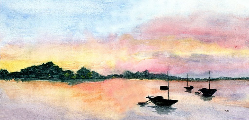 Sunrise Watercolor Painting By Mary Roff