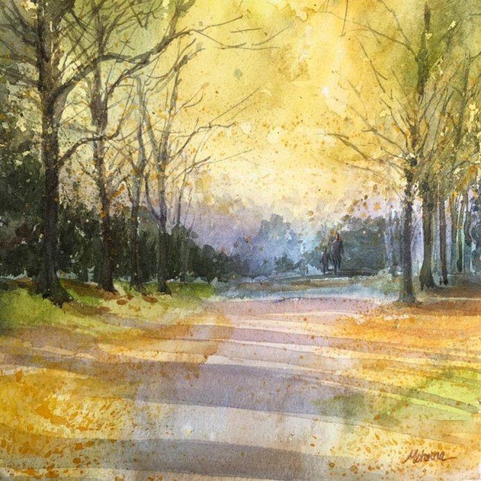 Autumn Landscape Watercolor Painting by Mohana Pradhan - Doodlewash