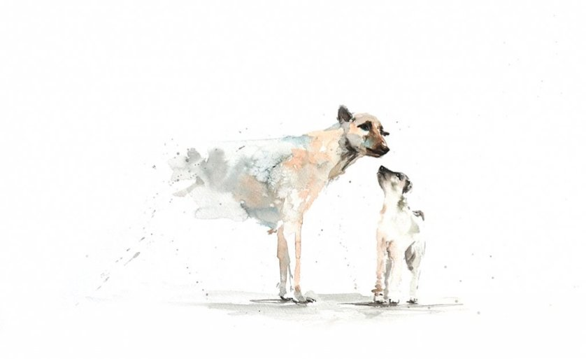 Dogs Watercolor Painting by Shyam Kumar - Doodlewash