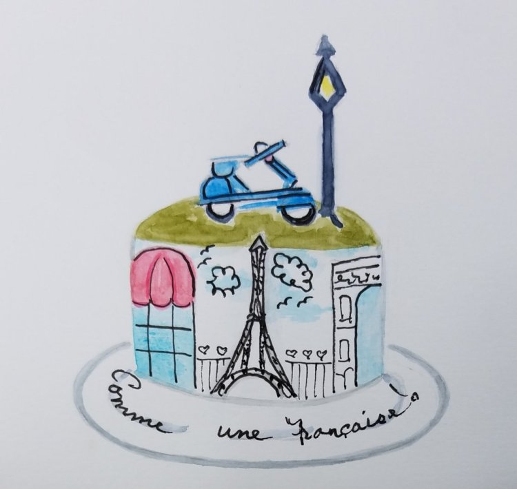 "#doodlewash2019 #WorldWatercolorGroup Day 13 ""Cake"" Happy Birthday Charlie!!! French bak"