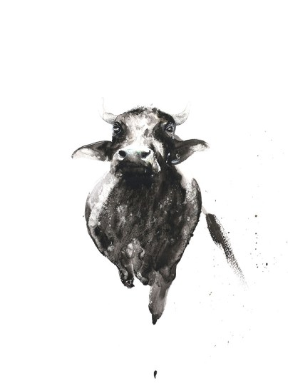 Cow Watercolor Painting by Shyam Kumar - Doodlewash